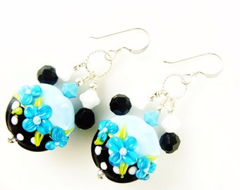 Black Blue Lampwork Earrings, Glass Bead Earrings, Summer Flower Earrings, Beadwork Earrings, Polka Dot Beaded Earrings, Lampwork Jewelry