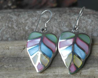 Vintage Sterling Silver Blue Yellow Green and Blue Mother of Pearl Leaf Hook Earrings