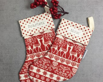 Personalised mini Christmas stocking, deer and hearts print. Personalised Christmas decoration. Custom stocking. Baby's first Christmas.