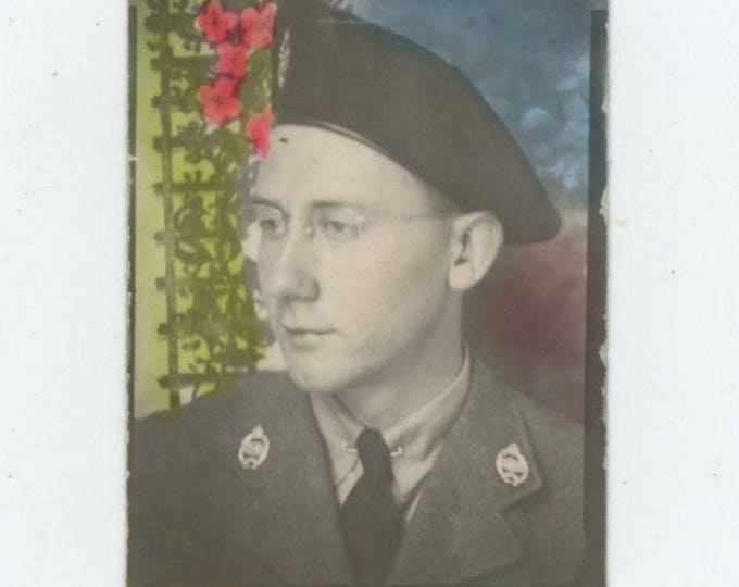 Vintage Hand-Tinted Arcade/Photo Booth c1940s: Soldier in Uniform [Canadian?][81645]