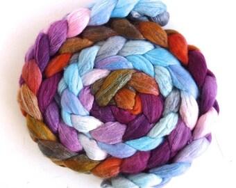 Merino/ Silk Roving - Handpainted Spinning or Felting Fiber, Erin's Flowers