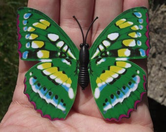 1 BUTTERFLY DECORATION, REFRIGERATOR DECOR. GREEN MAGNETIC MULTI COLOR. 7 X 6.2 cm. NO. 5.