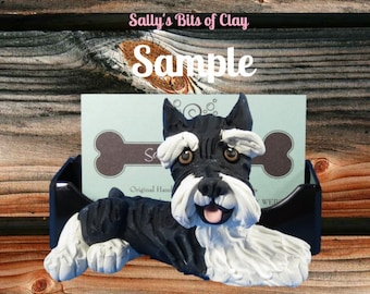 Black and Silver Cropped Ears Schnauzer Dog Business Card Holder / Iphone / Cell phone / Post it Notes OOAK sculpture Sally's Bits of Clay