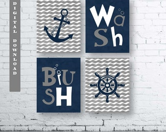 Navy and Grey Nautical Bathroom Wall Art Prints - Set of Four (4)- Instant Download.  Navy and Gray Nautical Wash Brush. Anchor Print. Print