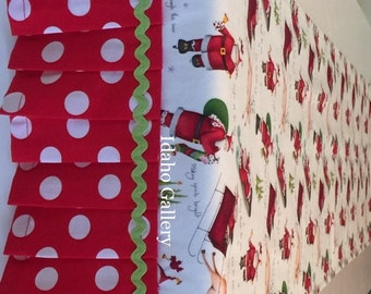 Christmas Decor Table Runner Ornamental Santa Table Scarf Ruffled Table Runner Holiday Decorations Santa Sleigh  Reindeer Red White Green