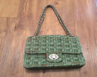Green Tweed Quilted Purse
