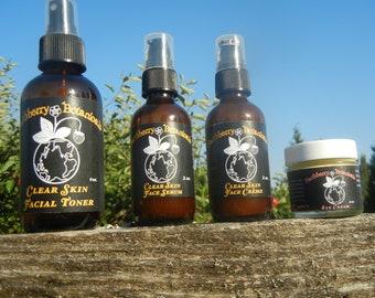 Acne prone skincare 2oz facial pack, Botanical, Organic, Herbal, and Wildcrafted-( Clear skin .Toner, Serum, Crème,Eye cream) (50.00 off)