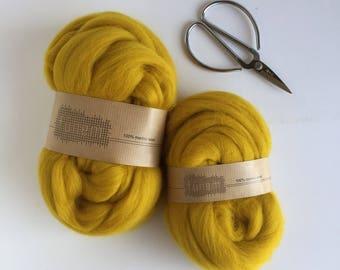 Organic Merino Wool Roving 603 Mustard