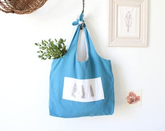 Cotton Tote Bag Tote Bag in Cotton / Tote / Blue Shopping Bag / Evjf Tote Bag / Beach Bag / Mother's Day Gift