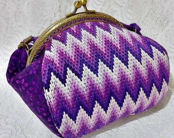 Evening Embroidery Kisslock Bag Clasp Frame Bag Shoulder Bag Purple Purse Gradient Vintage Bag