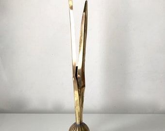 1980s Carnevale Brass Tulip Bulb Bud Vase - Spring - 1980s