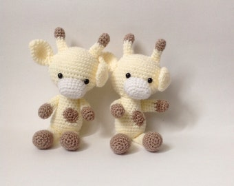 Crochet Toy Giraffe Yellow/Ivory/Brown Toddler and Baby Plush Toy