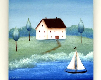 Country Home Sailing Sailboat Tile Coaster, Folk Art Print on 4 or 6 inch gloss tile with optional easel