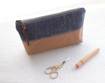Linen notion pouch
