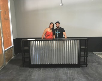 The Salon - 8' corrugated metal sales counter or reception desk w/ display shelves