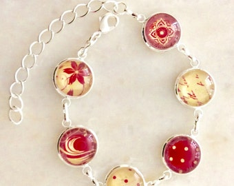 Delicate bracelet Red/off white 14mm