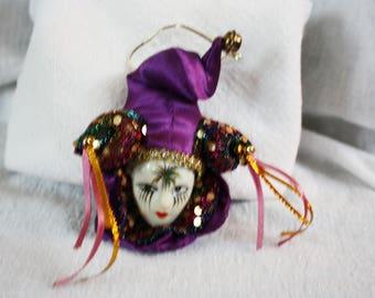 Vintage Harlequin or Jester Purple Fridge Magnet or Ornament