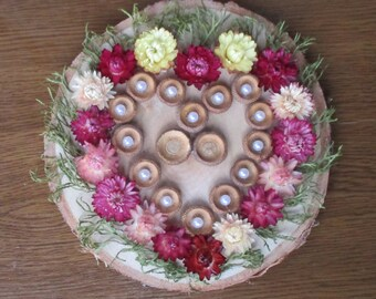 Birch slice ring pillow, Birch log ring bearer, Birch slice Ring bearer, Rustic Ring bearer, Dried flowers ring bearer, Rustic wedding decor