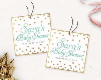 Gold-Glitter-Baby-Dusche druckbare Danke Tags / benutzerdefinierte Babyparty begünstigen Tags / Gold danke Tags druckbare / Dusche begünstigt
