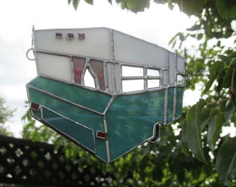 Teal and White Stained Glass Suncatcher, Vintage Travel trailer, Retro Trailer, Camping, RV accessories