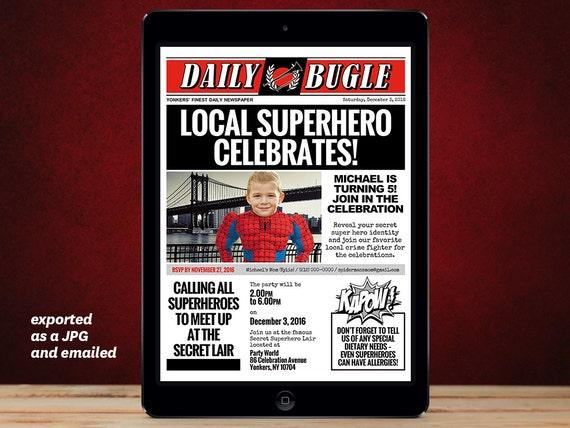 Diy Superhero Newspaper Invitation Template For A Spiderman