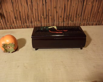Vintage Japanese Black Lacquer Musical Jewelry Box Flowers Cart