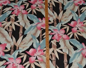 90s fabric tropical fabric Hawaiian floral large scale tropical floral fabric dress fabric pink orchids Asian Bamboo South Beach Deco