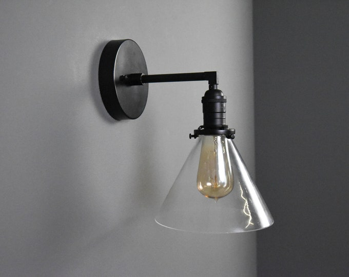 Matte Black Single Light Wall Sconce Clear Cone Glass Shade Vanity Century Industrial Modern Art UL Listed