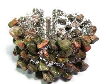 Outback - Green/Silver Bracelet - Hand Knitted Wire Mesh and Bead Cuff - Unakite Gemstone, Faceted Crystal and Silver - Mishimon Designs