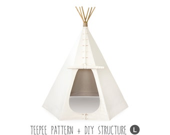 Teepee, Sewing Pattern of the Tent and Structure, Tutorial, DIY. LARGE Size. How to Make a Real Indian Tepee, Ebook, Tipi, Kids playroom
