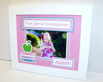 First Day of Kindergarten Keepsake - Personalized - Back To School Picture Mat - 8x10 UNFRAMED - ANY COLORS