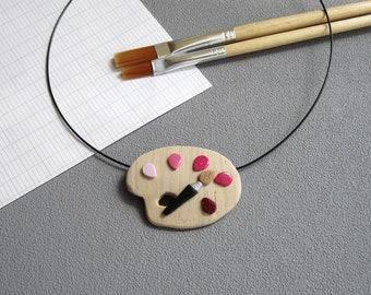 Pendentif palette de peintre et taches roses en pâte polymère fimo, imitation bois, idée cadeau maîtresse, pendentif palette peinture rose