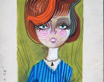 John Beaven (British, active 1940s - 1970s): Stylised Lady on lime green background - An original illustration artwork, circa 1960s