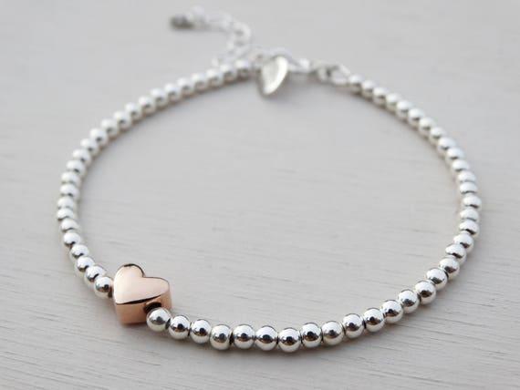Silver Bead & Rose Gold Heart Bracelet, Sterling Silver