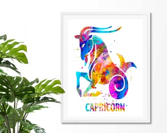 Capricorn #3 Watercolor  Astrology Art Print, Capricorn  Sign , Capricorn Zodiac, Capricorn Wall Art,  Capricorn Poster, Gifts for Capricorn