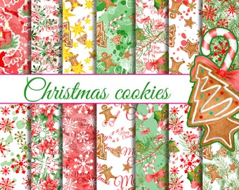 Christmas cookies seamless paper pack, Christmas digital patterns, Watercolor digital papers, hand painted cookies, green red christmas