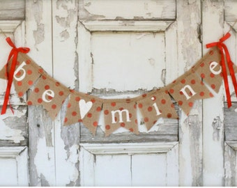 Be Mine Valentines Day banner, Polka dot banner, holiday banner, heart banner.