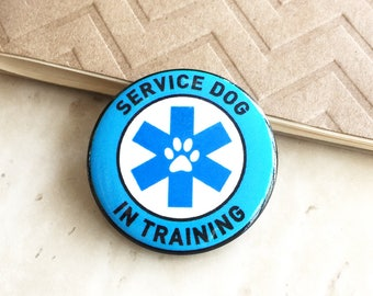 Service Dog in Training - Metal badge for vests, harnesses, & leashes. A great alternative to patches!