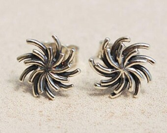 Silver Sun Stud Earrings, Silver flower stud earrings, Unique stud earrings, Sterling Silver stud earrings, Oxidized Silver earrings