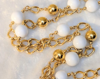 Vintage Monet Necklace - Long Gold Tone and White Ball Necklace by Monet