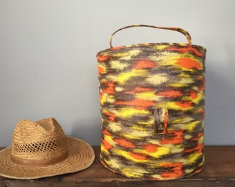 Retro Mid Century Modern Hat Wig Box - Vintage Travel Case or Yarn Storage