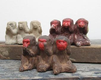 Three Wise Monkeys, Hear No Evil Speak No Evil See No Evil, Japan, Instant Collection, Monkey Lover Gift