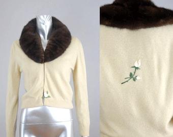 Blanche mink collar cardigan | vintage cashmere cardigan |  vintage fur cardigan