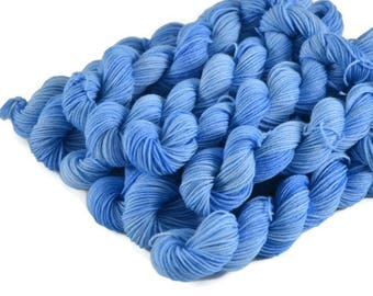 Mini Skeins, Hand Dyed Yarn, Sock Weight, Superwash Merino Wool Yarn, Fingering Weight, Sock Yarn Mini, Merino nylon sock yarn, blue - Sky