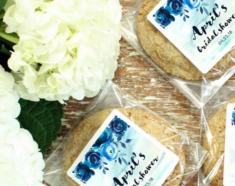 24 - Bridal Shower Favor Bags - Indigo Design | Bridal Shower Favors | Cellophane Cookie Bags | Candy Bags | Baby Shower - ANY OCCASION