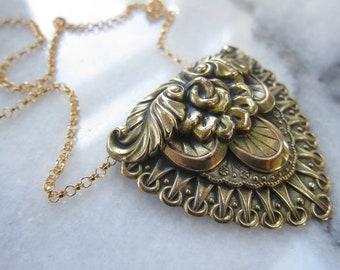 Vintage Brass Buckle Necklace, Statement Piece Necklace, Two Girls Gems