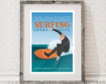 Retro travel surfing poster A3