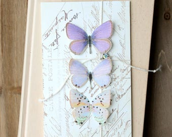 collection no. 38 . purple silk butterflies . hair clips, pins, magnets . realistic gifts wedding, bridesmaids, parties