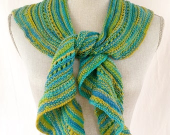 Knit Shawl, Knit Scarf, Half Shawl, Triangle Scarf, Women's Accessories, Lightweight Scarf, Yellow, Blue, Green