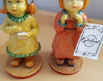 2 fenton china ornaments